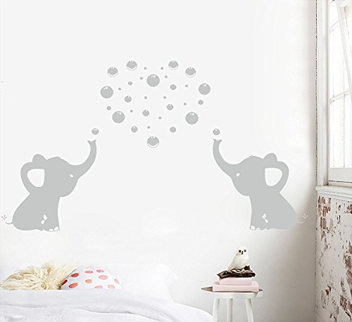 2 süßen elefanten wandtattoo familie blasen machen vinyl wand aufkleber für babys kinderzimmer dekoration(grau) (Vinyl-wand-aufkleber-elefant)