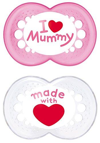 MAM 66737422 - Original Silikon I love mummy 6+ girl, Doppelpack