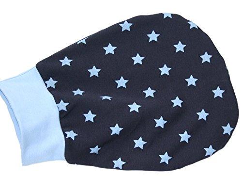 Schlafsack Strampelsack Pucksack LILAKIND hochwertige Handarbeit Herbst/Winter Fleece Blau Sterne 0-3 M