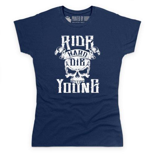 Ride Hard T-Shirt, Damen Dunkelblau