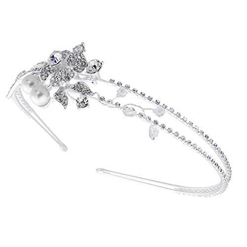 Skyllc® Diadema Banda Pelo Cabello Bañado de Plata Cristal Perla Novia Boda 42 mm
