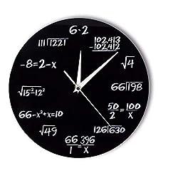 LLLYZZ Números De Ingeniería Matemáticas Reloj De Pared Ecuación Matemática Reloj Decorativo Pop Quiz Arte De La Pared Ciencia Regalo para Matemáticos Frikis Y Maestros