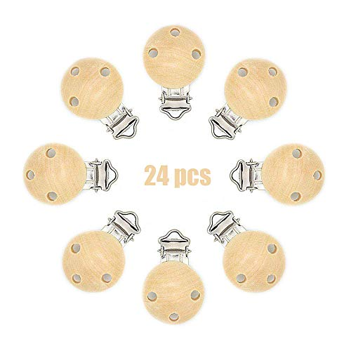 24PCS Pinza clip para Chupete Clips de chupete de madera Clip para beb/é Natural ARTESTAR