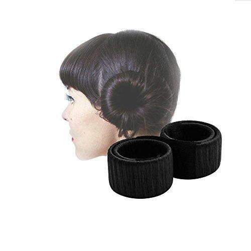 [2 Pack] Fashion Hair Styling, HAO HONG Hair Bun Maker Haarschmuck Frisurenhilfe für lange und dicke Haare Braun (Schwarz)