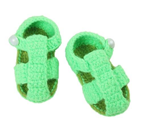 Bigood 1 Paar Strickschuh One Size Strick Schuh Baby Unisex süße Muster 11cm Knopf Hellgrün Grün K