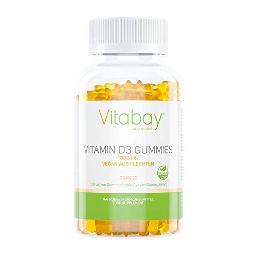 Vitamin D3 1000 IE/IU Gummibärchen - Orange Geschmack - 100% vegan aus Flechten ohne Gelatine (120 vegane Gummies)