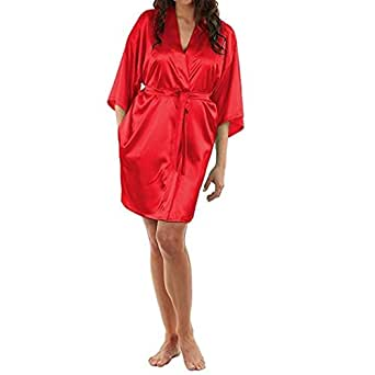 V Brown Satin Babydoll Bath Robe Night Wear