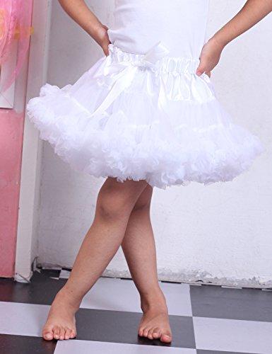 Relaxfeel Mädchen Solid Color Ruffle Tanz Tutu Pettiskirt 1-10t Weiß