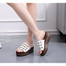 SFSYDDY-L'Estate 7.5Cm Scarpe Bianco Denso Basso Pendio Con Le Pantofole Signore Dei Sandali Di Cuoio Rhinestone Zuccherino Outdoor Pantofole. 37