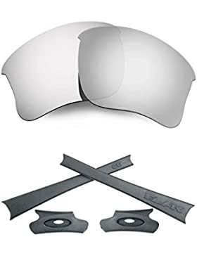 HKUCO For Oakley Flak Jacket XLJ Silver Polarized Replacement Lenses And Grey Earsocks Rubber Kit