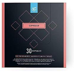 Marca Amazon - Happy Belly Espresso Café UTZ molido de tueste natural en cápsulas compatibles con Nespresso*, 30 cápsulas