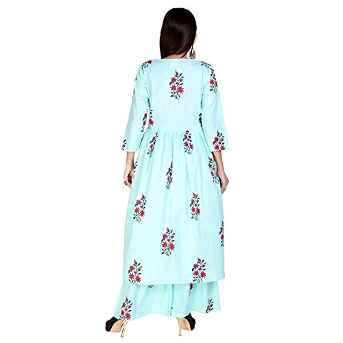 Marlin Women's Cotton Kurti With Palazzo Pant Set Kurti Palazzo set for women kurti palazzo set C GREEN Kurti Palazzo set for girls plazzo suits for women LATEST Plazzo Sets for Women WITH kURTI