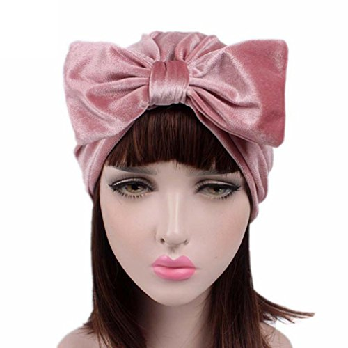 jaminy Frauen Bogen Krebs Chemo Hut Beanie Schal Turban Kopf Wrap Cap (Rosa) (Seide Wickel Bluse Chiffon)