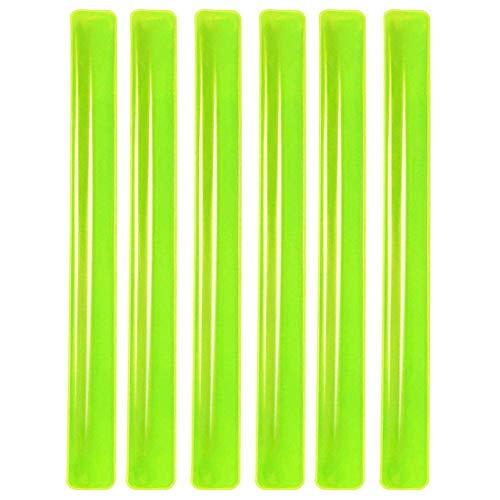 PREMYO Reflektorband 6er Set Schnapparmband Reflexband Reflektor Sicherheitsband Arm Bein Reflektierend Elastisch Hohe Sichtbarkeit Sicherheit beim Laufen Radfahren Joggen Kinder Outdoor Neon Gelb