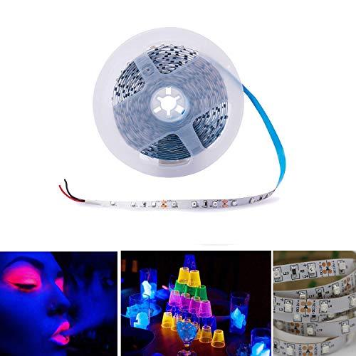 Arote UV LED Strip Schwarzlicht Streifen Band Leiste SMD 3528 UV Licht Lichterkette Lichtleiste lila, Deko Party, 5M IP20 nicht wasserdicht, 12V DC Uv-led