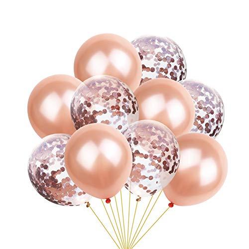 SunBeter 12 Zoll Rose Gold Konfetti Latex Luftballons Sets für Baby Shower Hochzeit Dekoration Birthday Party Supplies-10 PCS