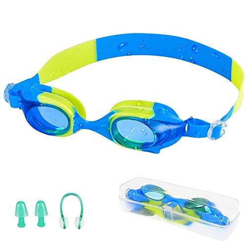 Zerhunt Schwimmbrillen für Kinder, Schwimmbrille mit Antibeschlag und UV Schutz, Ohrstöpsel & Nasenklammern mitgeliefert (Blau)