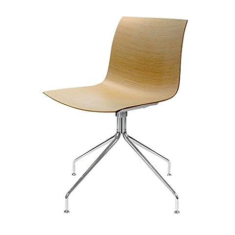 Arper Catifa 46 0357 Stuhl einfarbig mit Sternfuß, Einzelstück - natur Eiche Gestell verchromt