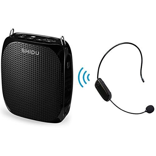 Wireless Stimmverstärker Lautsprecher (10W) 1800mA mit Headset Mikrofon für Reiseführer, Lehrer, Trainer, Vorträge, Kostüme, Usw Schwarz