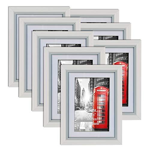 ssentials 8er weißer Bilderrahmen Set mit Passepartout für Bilder 10x15cm und ohne Passepartout für Bilder 13x18cm ()