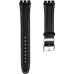 Echtleder Uhrenarmband von Geckota® hergestellt für Swatch Uhren mit Edelstahl Dornschließe, Schwarz und Weiß, 17mm
