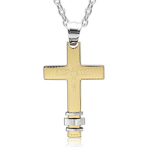 Beydodo Collana Donna Collane Acciaio Inossidabile Collana con Pendente Jesus Collana Croce Gotica Oro Regalo di San Valentino