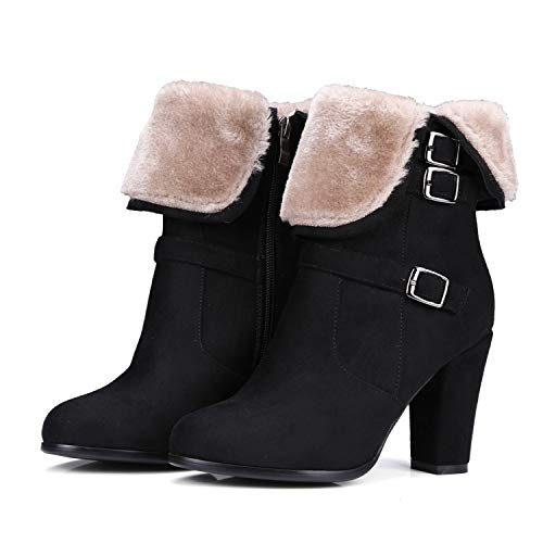 GAOQQ Frauen Schnee Stiefel , Mittlere Ferse Faux Wildleder Pelz Gefüttert Schuhe, Winter Warme Kurze Block Ankle Booties Für Outdoor,Black-CN39 - Faux-pelz-booties