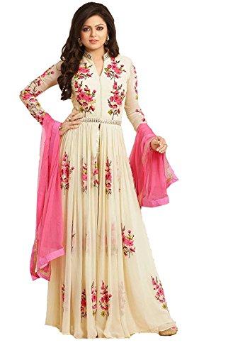 Yeoja Creation Beige Georgette Anarkali Gown Semi Stitched Dress Material(CR10_Freesize_Cream)