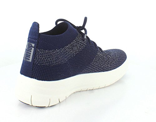 FitFlop Damen Uberknit Slip-On High Top Sneaker Hohe, Schwarz, One Size Midnight Navy / Pewter