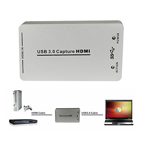 Mopei HDMI-Videoaufnahme USB 3.0 Game Capture-Karte, drive-free HD 1080P 60 FPS Live-Streaming-Video-Capture-Karte für Windows Linux OS X-System (Player Media Free-tv-streaming)