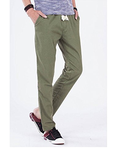 Pantalon homme en lin style décontractés Vert