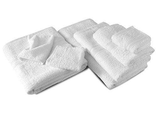 Packs zum Sparpreis - solide Frottiertücher - erhältlich in 18 modernen Farben und 8 verschiedenen Größen, 4er Pack Handtücher (50 x 100 cm), weiß (Saugfähig Pack)