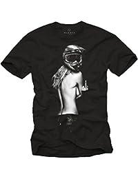 Motorrad T-Shirt Herren - Pin Up Girl mit Motocross Helm