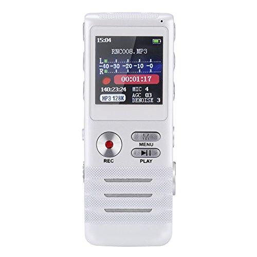 GHB-Diktiergerte-Aufnahmegert-Digitaler-Voice-Recorder-8GB-Speicher-mit-Dual-Mikrofon-Stereoaufnahmen-MP3-Player-USB-Digital-Silber