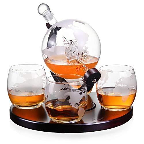 Royal Decanters Geätzter Globe Whisky-Dekanter, Geschenk-Set - Gläser & Glas Getränkespender auch für Brandy Tequila Bourbon Scotch Rum - alkoholähnliche Geschenke für Papa (850 ml) (4 runde Gläser) Brandy Decanter