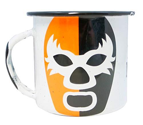 Mexikanische Wrestler Emaille-Kaffeetasse, schwarz und orange, mit mexikanischem Luchador