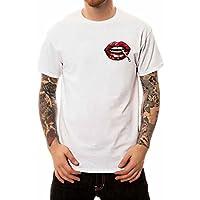 Hombres 3D sin costura Algodón Negro Digital Creativo 3D Lip Print T-shirt Tendencias de la personalidad del verano Hombres más jóvenes de gran tamaño Camiseta Tamaño europeo S-xxxxl ( Color : Blanco , tamaño : SG )