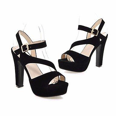 Fschooly Femmes Chaussures Nubuck Cuir Printemps Automne Confort Chunky Sandales Talon Pour Casual Amande Pêche Noir Noir