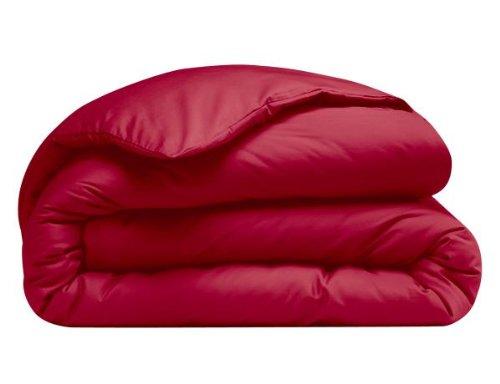 Housse de couette 100% percale de coton Uni 200 x 200 cm Rouge