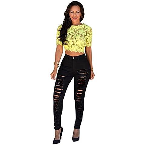Ularma Mujeres Jeans pantalones, pantalones de mezclilla Skinny, talle alto, delgado lápiz