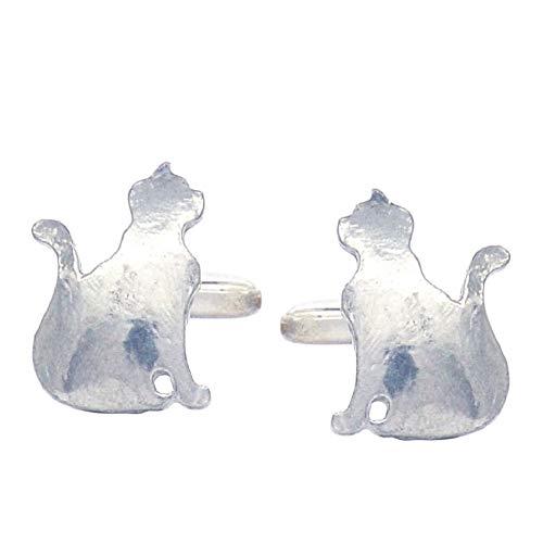 Luxury Fine Pewter Sitting Cat Cufflinks, Handcast by William Sturt