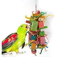 POPETPOP Pájaro Loro Juguetes Loro Jaula Colgante Entretenimiento Juguete mordida Flexible Cadena Colgante de Madera para