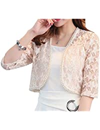 d291c8dd1f5 Vinyst Womens Lace Patchwork Shawl Plus Size Shrug Cropped Bolero Cardigan