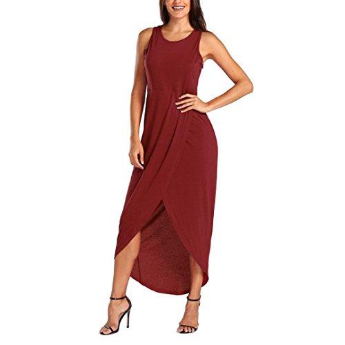 ON Frauen Casual Sommer Camisole Sleeveless Lose Solide Strand Dame Sexy Langes Kleid (Billig Gatsby Kleider)
