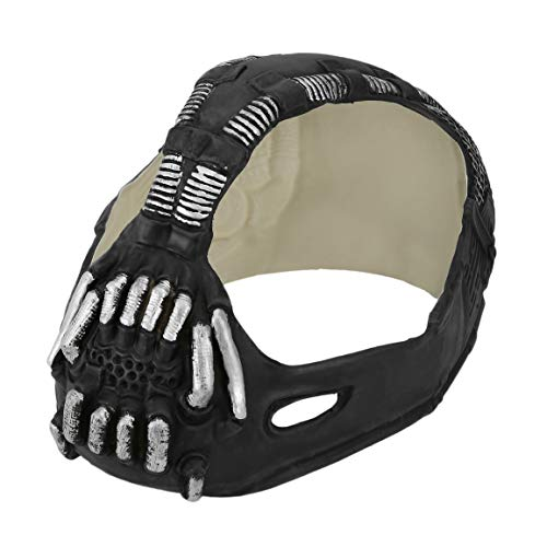 (Fantasyworld Maske Universal-Bane Batman Cosplay Helm 3D Bane Latex Maske mit Stimmenverzerrer Halloween Kostüm Zubehör für Partei)
