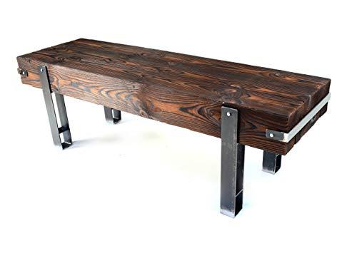 CHYRKA® Bank Sitzbank Massiv-Holz Brody Loft Vintage Bar Industrie Design Handmade Holz Metall (28 cm x 140 cm h=45 cm)