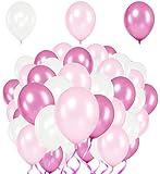 Premium Luftballons – Heliumluftballons Metallic • 51 Stück • 3 Farben • Weiß, Rosa, Pink • XL Größe • Metallic Luftballons dienen als hochwertige Deko für Hochzeit, Geburtstag,usw. • extra reißfest