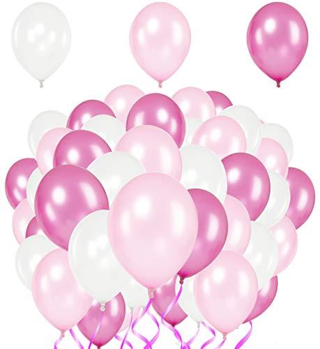 Premium Luftballons - Heliumluftballons Metallic • 51 Stück • 3 Farben • Weiß, Rosa, Pink • XL Größe • Metallic Luftballons dienen als hochwertige Deko für Hochzeit, Geburtstag,usw. • extra reißfest