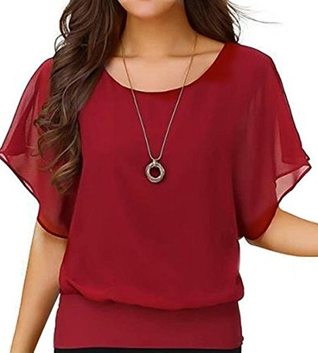 YYWING Women's batwing sleeve blouse Loose Casual Short Sleeve Chiffon Top T-shirt Blouse