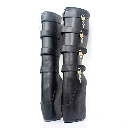 COSY-L Extreme Fetisch Ballet Stiefel Damen High Heels mit Schloss 36-46,Black,46EU/15US